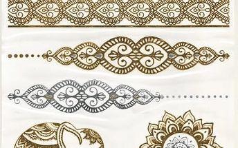 Dočasné tetování - Metalické tetování se slonem - dodání do 2 dnů