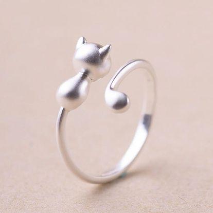 Nastavitelný prsten s kočičkou - dodání do 2 dnů