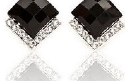 Třpytivé náušnice s černým kamínkem