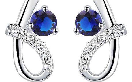 Elegantní dámské náušnice s ozdobným modrým kamínkem