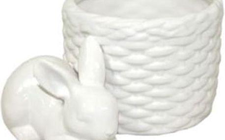 Keramický zajíček s košíčkem. Krásná dekorace do Vašeho domova.