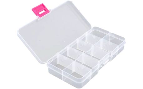 Plastové pouzdro v čirém provedení s 10 přihrádkami