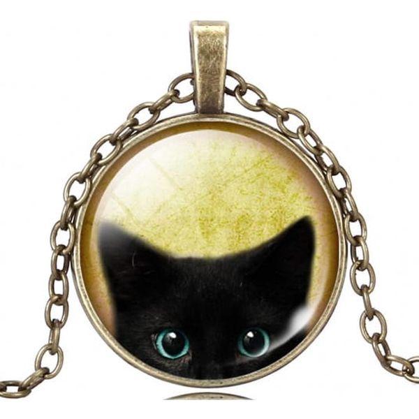 Náhrdelník s přívěskem s obrázkem kočky - různé druhy