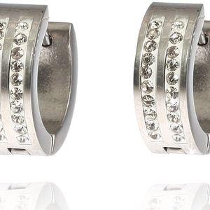 Fashion Icon Náušnice kroužky dva pruhy chirurgická ocel