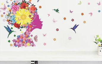 Nalepte.cz Tvář květinové víly 140 x 65 cm