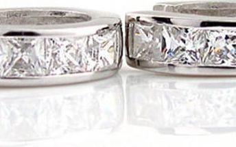 Dámské náušnice s velkými kamínky - stříbrná barva
