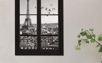 3D samolepka na zeď - Černobílé okno s výhledem na Paříž - dodání do 2 dnů