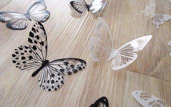 Nalepte.cz 3D dekorace na zeď motýli černí a bílí 18 ks 5 až 6,5 cm