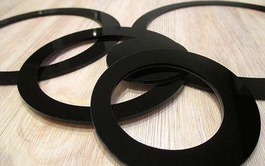 Nalepte.cz 3D dekorace na zeď kruhy černé 5ks 5 až 15 cm