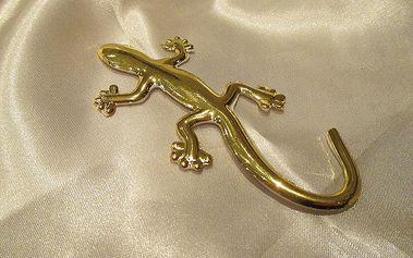 Nalepte.cz Zlatá 3D ještěrka 9,5 x 4,5 cm