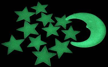 Nalepte.cz Svítící měsíc a hvězdy 8 x 8 cm