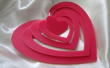 Nalepte.cz 3D srdce dekorace na zeď růžové 5ks 17 x 14,5 cm