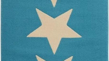 Koberec Fringe - modré hvězdy, 80x200cm