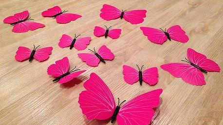 3D dekorace motýli růžová 12 ks 12 kusů 6 cm až 12 cm