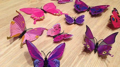 Nalepte.cz 3D dekorace motýlci růžová fialová 12 ks 12 ks 5 až 12 cm