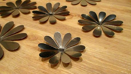 3D dekorace květy zrcadlové 12 ks 6 až 12 cm