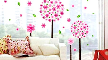 Rostliny s růžovými květy 60 x 40 cm
