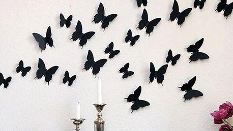 3D dekorace motýli černá 12 ks šíře 6 x 10 cm, šíře 6 x 5 cm