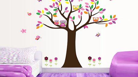 Strom s barevnými sovičkami 120 x 105 cm