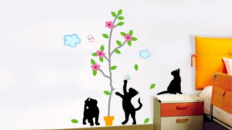 Květináč a kočky 50 x 70 cm