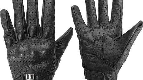 Černé kožené rukavice na motocykl