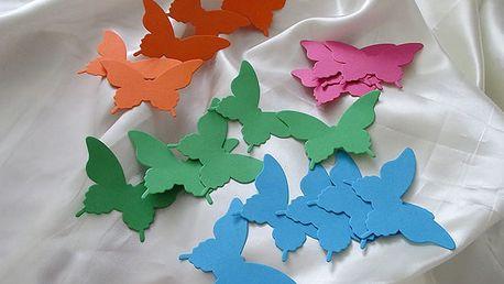 3D barevní motýlci 20 ks 7,5 x 5 cm