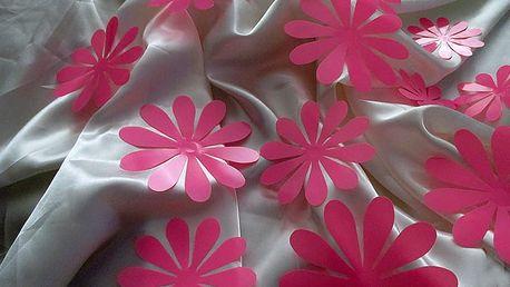 Nalepte.cz 3D květy na zeď růžové 12 ks průměr 7,6 cm až 11 cm