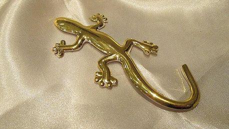 Zlatá 3D ještěrka 4,5 x 9,5 cm