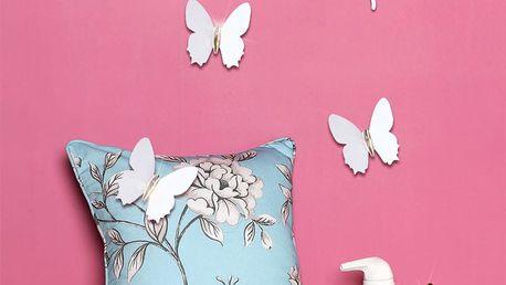 Sada 12 bílých 3D samolepek Ambiance Fanastick Diamond Butterflies