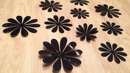 3D květy na zeď černé 12 ks průměr 7,6 cm až 11 cm