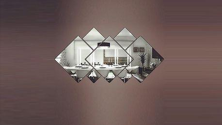 3D čtvercové zrcadlové dekorace 16,5 x 16,5 cm