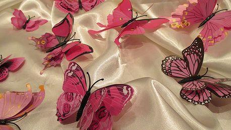 Nalepte.cz 3D motýli s dvojitými křídly růžoví 12 ks 5 až 12 cm