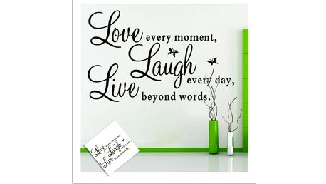 Samolepka na zeď - Love, Live, Laugh - dodání do 2 dnů