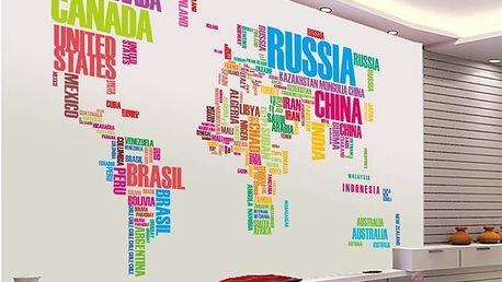 Nalepte.cz Mapa světa názvy zemí 122 x 74 cm