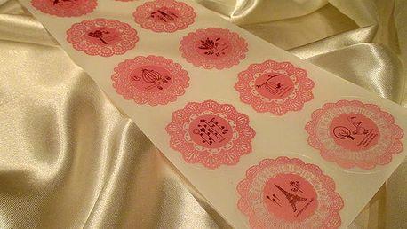Samolepky na dárky růžové 10 x 23 cm
