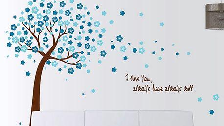 Strom s modrými květy 120 x 150 cm