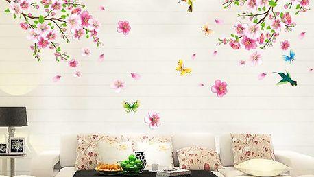 Motýli kolibříci a květy 110 x 120 cm