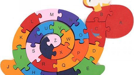 Dřevěné puzzle - Šnekova abeceda