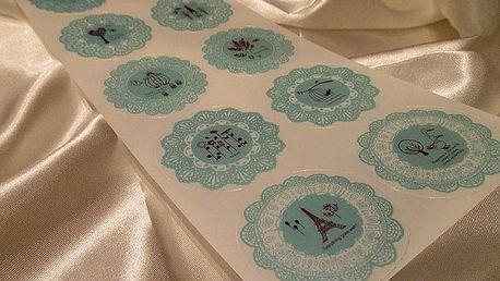 Samolepky na dárky modré 10 x 23 cm