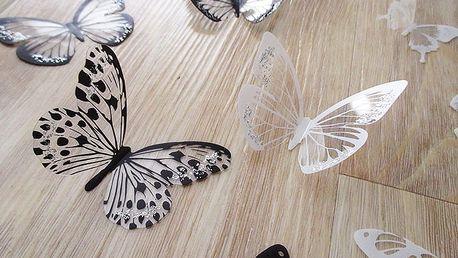 3D dekorace na zeď motýli černí a bílí 18 ks 5 až 6,5 cm