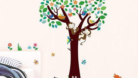 Nalepte.cz Strom s opičkami 135 x 124 cm