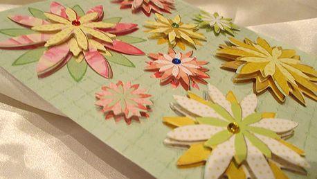 3D mini květy na dárky 12 x 14 cm