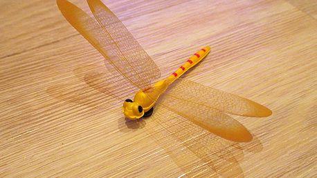 3D vážka žlutá dekorace na zeď 12 cm