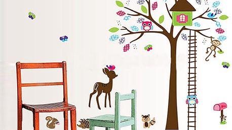Stylový strom se zvířátky 110 x 145 cm