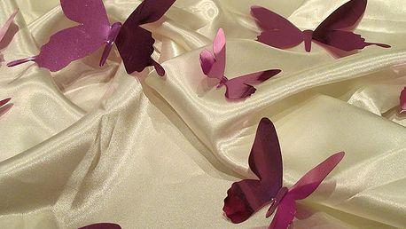 Nalepte.cz 3D motýli na zeď metalická růžová 12 ks 12 x 10 cm