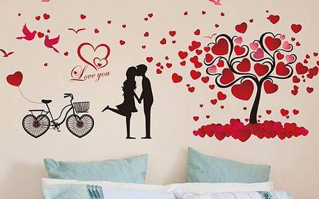 Zamilovaný pár a srdíčka 147 x 72 cm