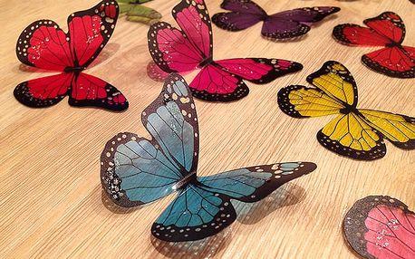 3D dekorace motýlci pestrobarevní 18 ks šíře 5 a 6,5 cm