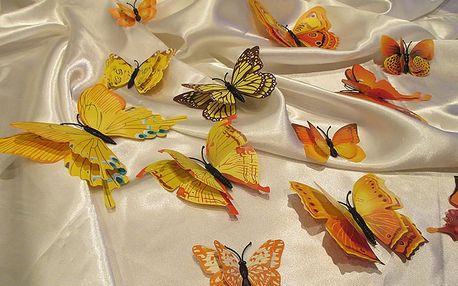 3D motýli s dvojitými křídly žlutí 12 ks 5 až 12 cm