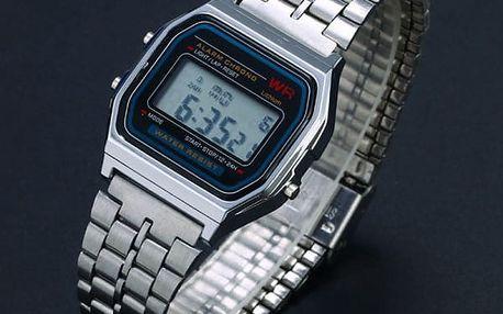 Retro digitální hodinky - stříbrná barva - dodání do 2 dnů