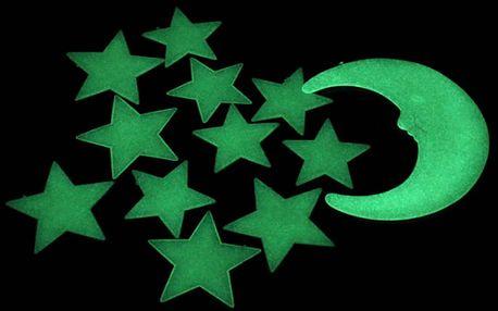 Svítící měsíc a hvězdy 8 x 8 cm